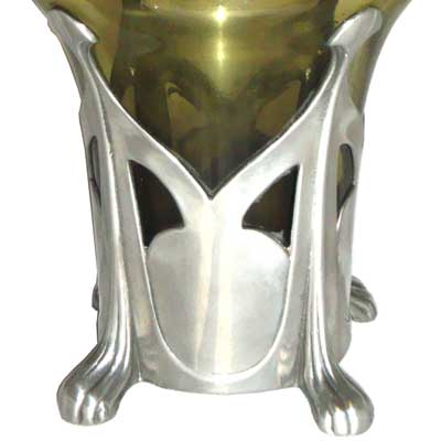 Art Nouveau pewter and glass vase by J Reinemann (gm114)