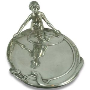 Art Nouveau pewter figural card tray with maiden and snake by WMF (gm795)