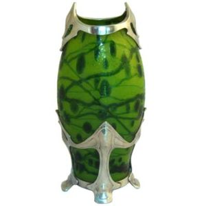 Art Nouveau pewter mounted cameo glass vase attributed to Loetz (gm277)