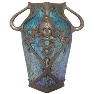 Art Nouveau pewter mounted figural Loetz vase (gm252)