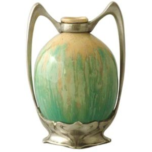 Art Nouveau pewter mounted pottery vase by Osiris (gm222)