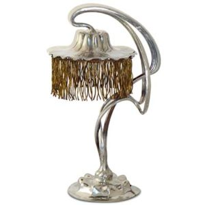 Art Nouveau pewter table lamp by Orivit (gm801)