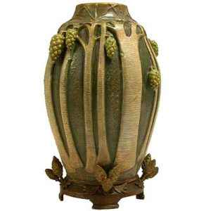 Art Nouveau pottery vase with bronze mount by Paul Dachsel for Amphora