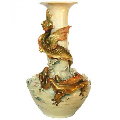 Art Nouveau sea monster vase by Royal Dux