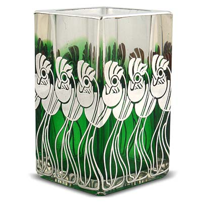 Art Nouveau silver overlay vase in the style of Koloman Moser attributed to Meyrs Neffe (gm950)