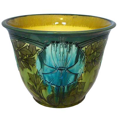 Art Nouveau tublined Secessionist ware planter by Minton (gm145)