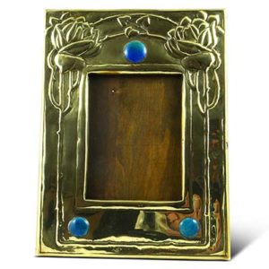 Arts & Crafts Glasgow School brass and enamel photo frame (gm897a)