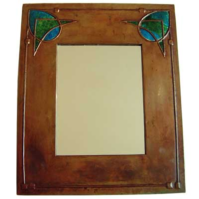 Arts & Crafts Glasgow School copper and enamel mirror