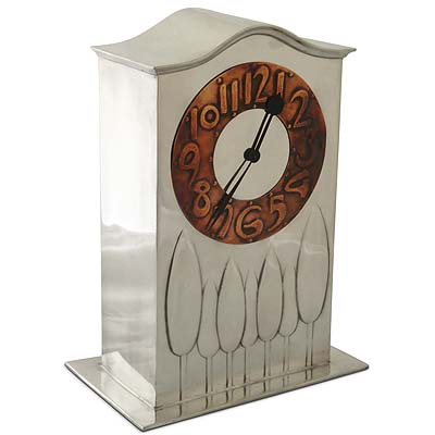 Arts & Crafts Liberty & Co Tudric pewter and copper clock attributed to Charles Francis Annesly Voysey (gm432)