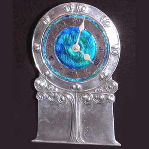 Arts & Crafts Liberty & Co Tudric pewter and enamel clock