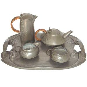 Arts & Crafts Liberty & Co Tudric pewter tea set by Archibald Knox (gm075)