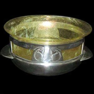 Arts & Crafts Tudric pewter and Clutha glass rosebowl by Archibald Knox for Liberty & Co
