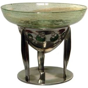Arts & Crafts Tudric pewter and Cluthat glass centrepiece by Archibald Knox for Liberty & Co