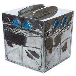 Arts & Crafts Tudric pewter and enamel Liberty & Co biscuit box by Archibald Knox