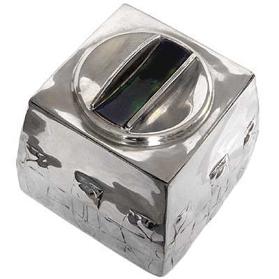 Arts & Crafts Tudric pewter and enamel biscuit box by Archibald Knox