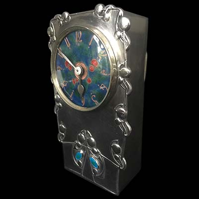 Arts & Crafts Tudric pewter and enamel clock model 0608 by Archibald Knox for Liberty & Co (gm864)