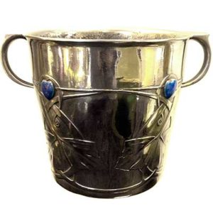Arts & Crafts Tudric pewter and enamel ice bucket by Archibald Knox for Liberty & Co (gm089)