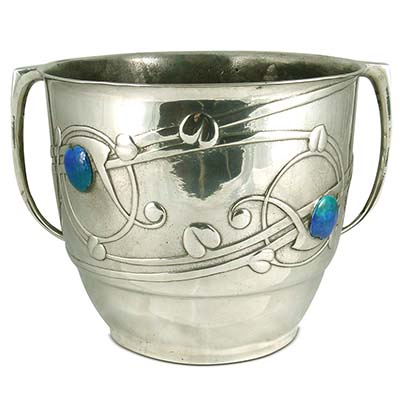 Arts & Crafts Tudric pewter and enamel ice bucket by Archibald Knox for Liberty & Co (gm840)