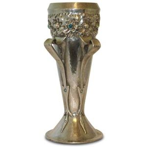 Arts & Crafts Tudric pewter and turquoise vase by Oliver Baker for Liberty & Co (gm530)
