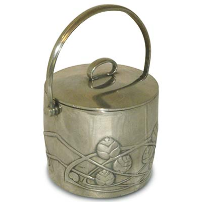 Arts & Crafts Tudric pewter biscuit barrel by Archibald Knox for Liberty & Co (gm768)