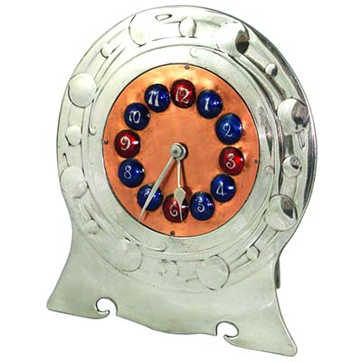 Arts & Crafts Tudric pewter, copper and enamel clock by Archibald Knox for Liberty & Co (gm741)