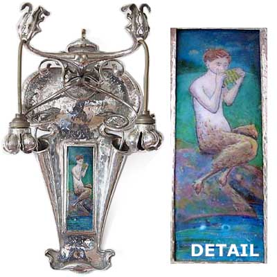 Arts & Crafts beaten silverd copper and enamel wall light by Jeffries