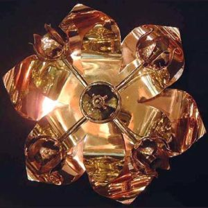 Arts & Crafts brass and copper ceiling light by W A S  Benson