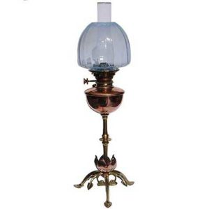 Arts & Crafts brass and copper oil lamp by W A S  Benson