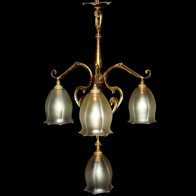 Arts & Crafts brass and glass ceiling light