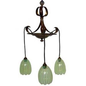 Arts & Crafts brass and vaseline glass ceiling light