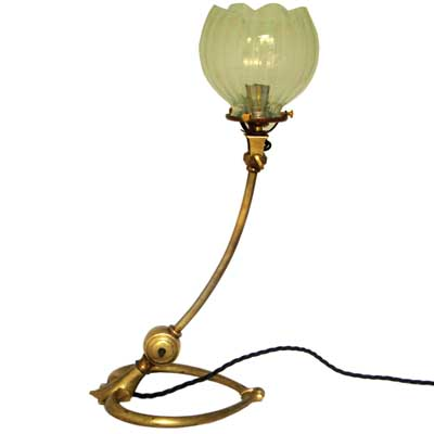 Arts & Crafts brass and vaseline table lamp by WAS Benson (gm242)