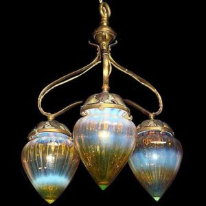Arts & Crafts brass ceiling light with vaseline glass shades