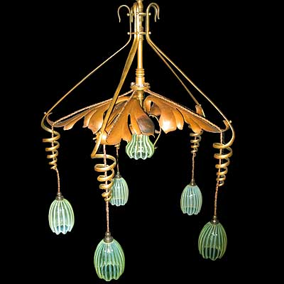 Arts & Crafts ceiling light with vaseline shades by W A S  Benson