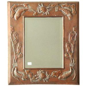 Arts & Crafts copper mirror by J&F Poole of Hayle (gm016)