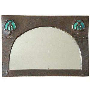 Arts & Crafts copper mirror with Ruskin inset (gm028)