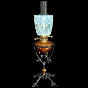 Arts & Crafts iron copper and vaseline glass oil lamp