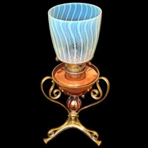 Arts & Crafts oil lamp by W A S  Benson with vaseline shade
