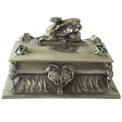 Arts & Crafts pewter and enamel box with gryphon finial by Miller Brothers (gm328)