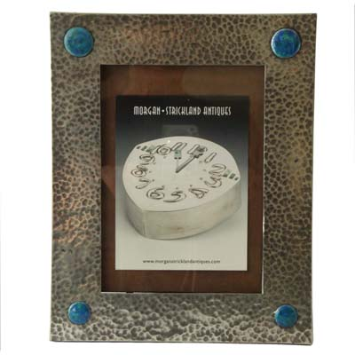 Arts & Crafts pewter and enamel photo frame (gm463)
