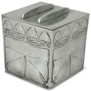 Arts & Crafts rare Tudric pewter biscuit box by Archibald knox for Liberty & Co (gm827)