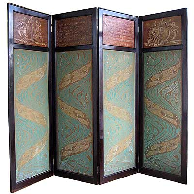 Arts & Crafts tooled leather and hand painted fabric screen
