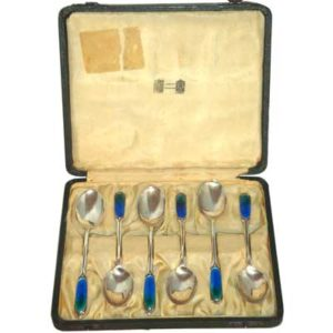 Boxed set of 6 Cymric silver and enamel spoons made for Liberty & Co (gm254)