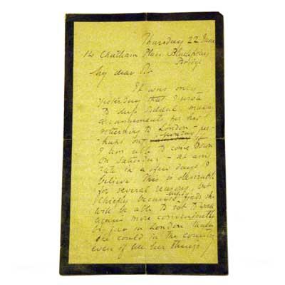 Original signed letter by Dante Gabriel Rosetti concerning Elizabeth Siddel's return to London after convalescence (gm140)