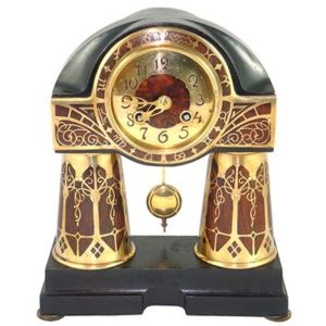 Erhard & Sohne Art Nouveau Secessionist brass and rosewood Intarsia clock (gm731)