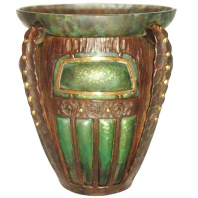 Fine Art Deco internally decorated glass and wrought iron vase by Daum and Louis Majorelle (gm366)