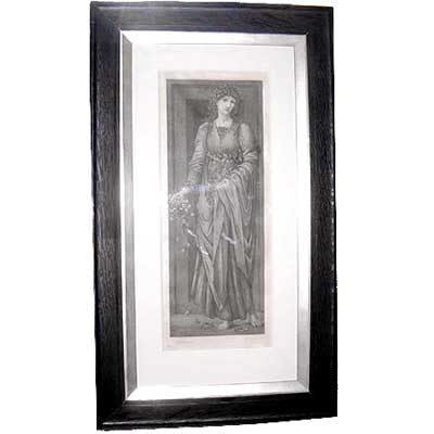 Flora   Pre Raphaelite etching by Gaujean after Edward Burne Jones signed by both
