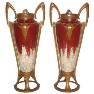 Lare pair of bronze mounted pottery vases in the style of Otto Eckmann