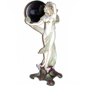 Large Art Nouveau figural pottery mirror by Ernst Wahliss