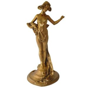 Large Art Nouveau gilded bronze figure by Charles Korschann (gm374)