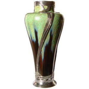 Large Art Nouveau pewter and ceramic vase by Orivit and Zsolnay Pecs